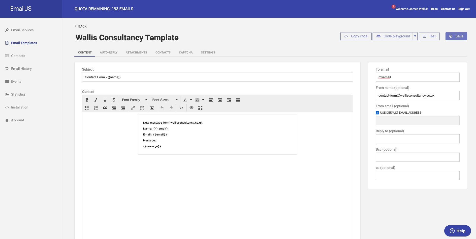 EmailJS template
