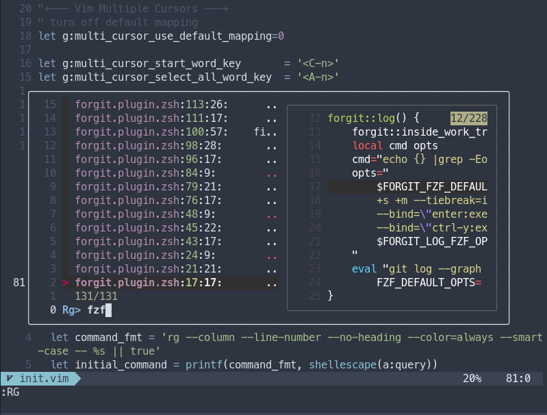 FZF and RipGrep searching for words inside files inside Neovim