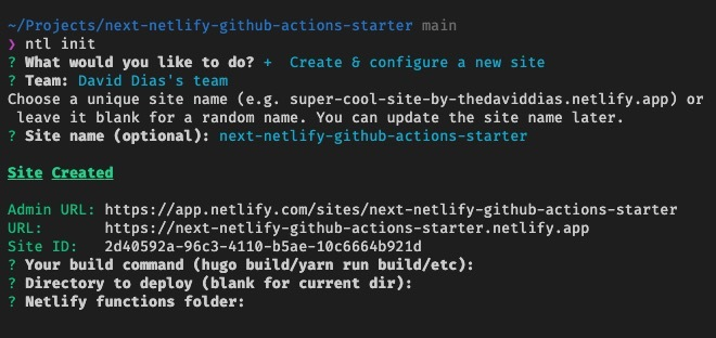 Screenshot of the CLI with the build, start and function script command suggestion