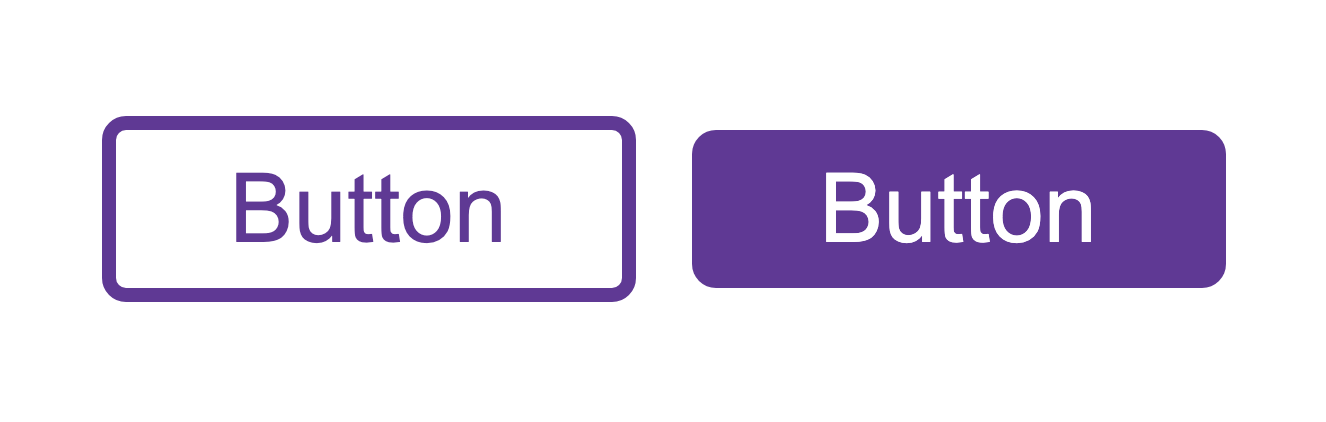 a button using a border which appears visually larger than the second button with a background but no border