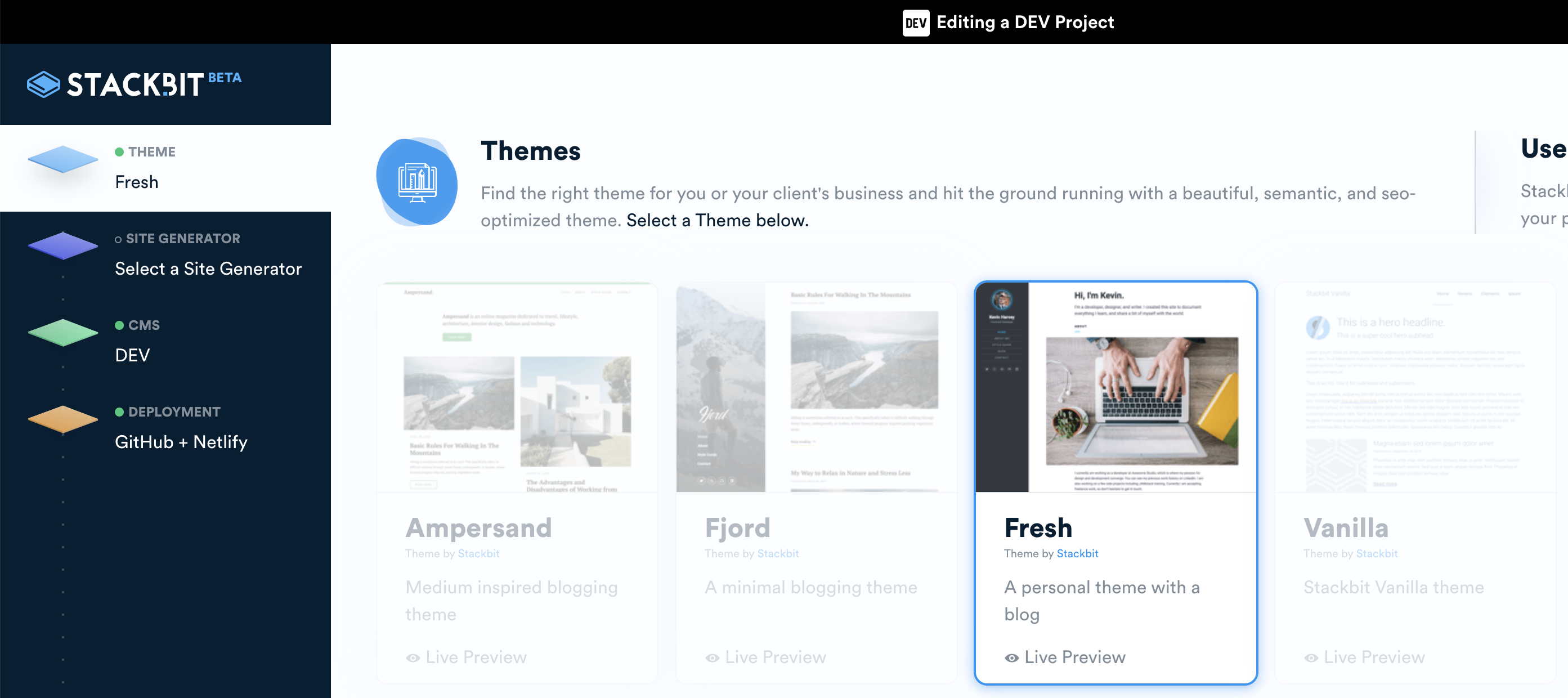 Stackbit site creation step one. Select a theme