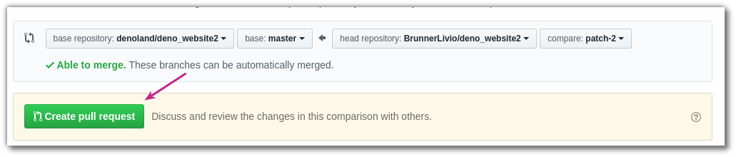 Create Pull Request on Github