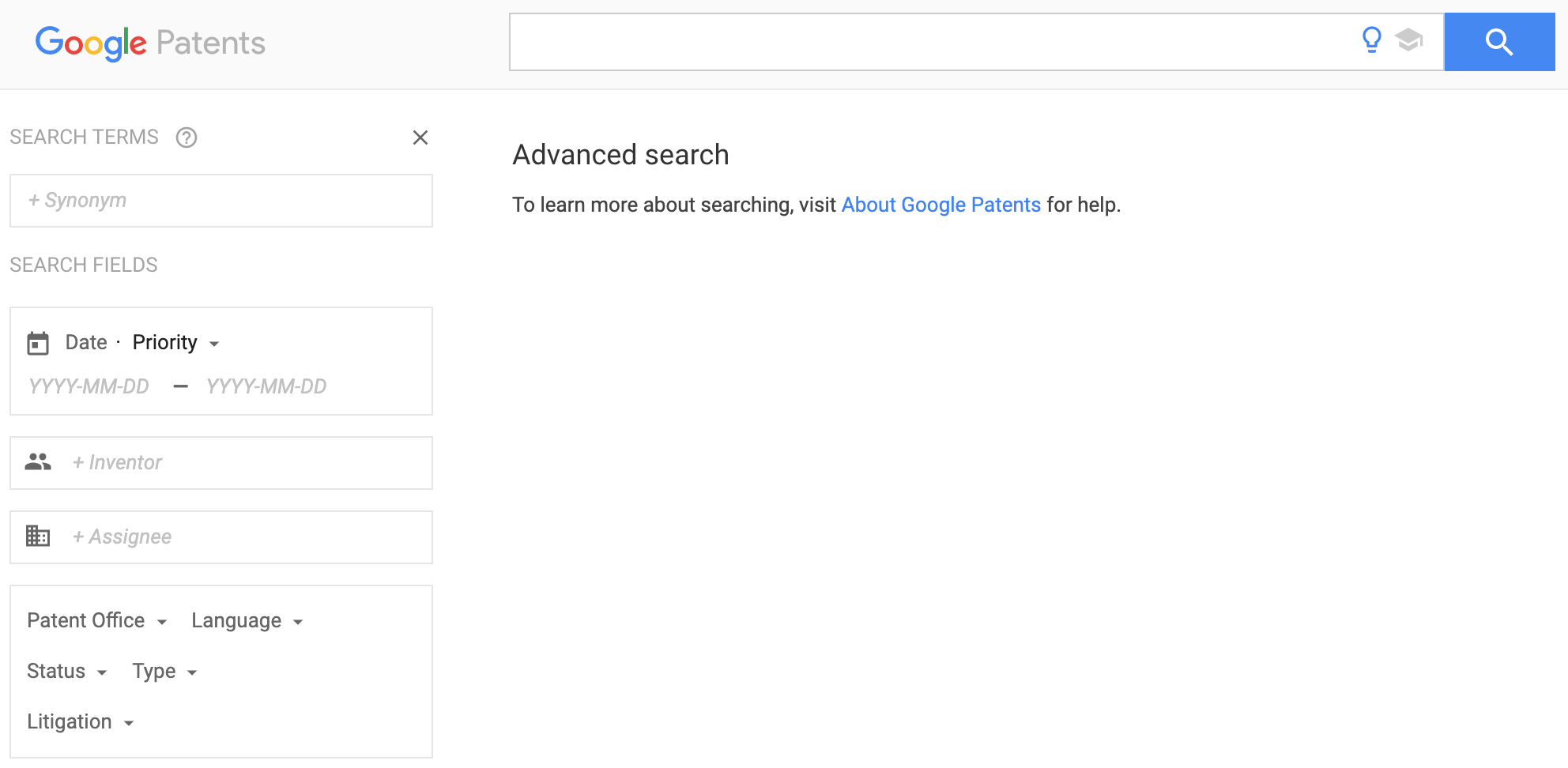 Google Patents advanced search interface