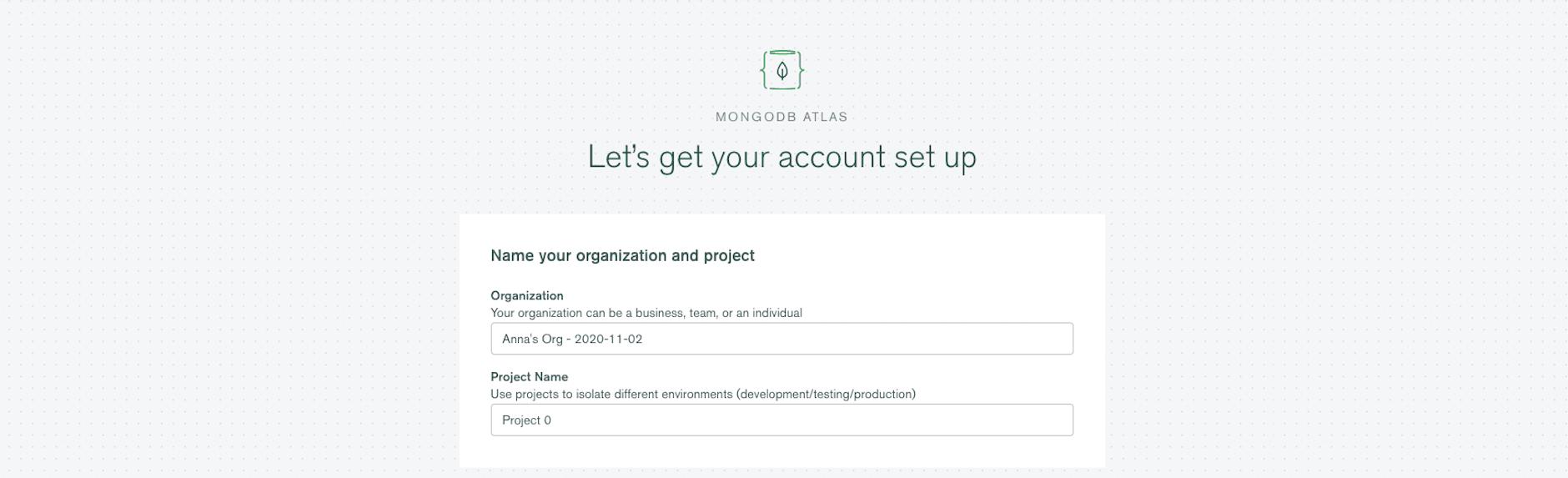 Name project and organization at MongoDB Atlas