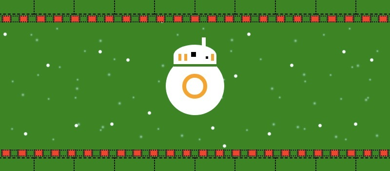 graphic to simulate a sweater. The background is green, snow is falling