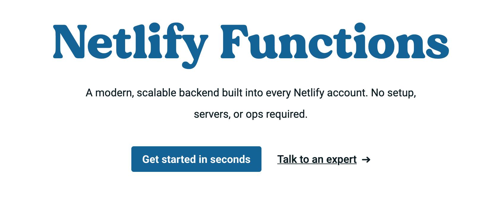 Netlify Functions homepage