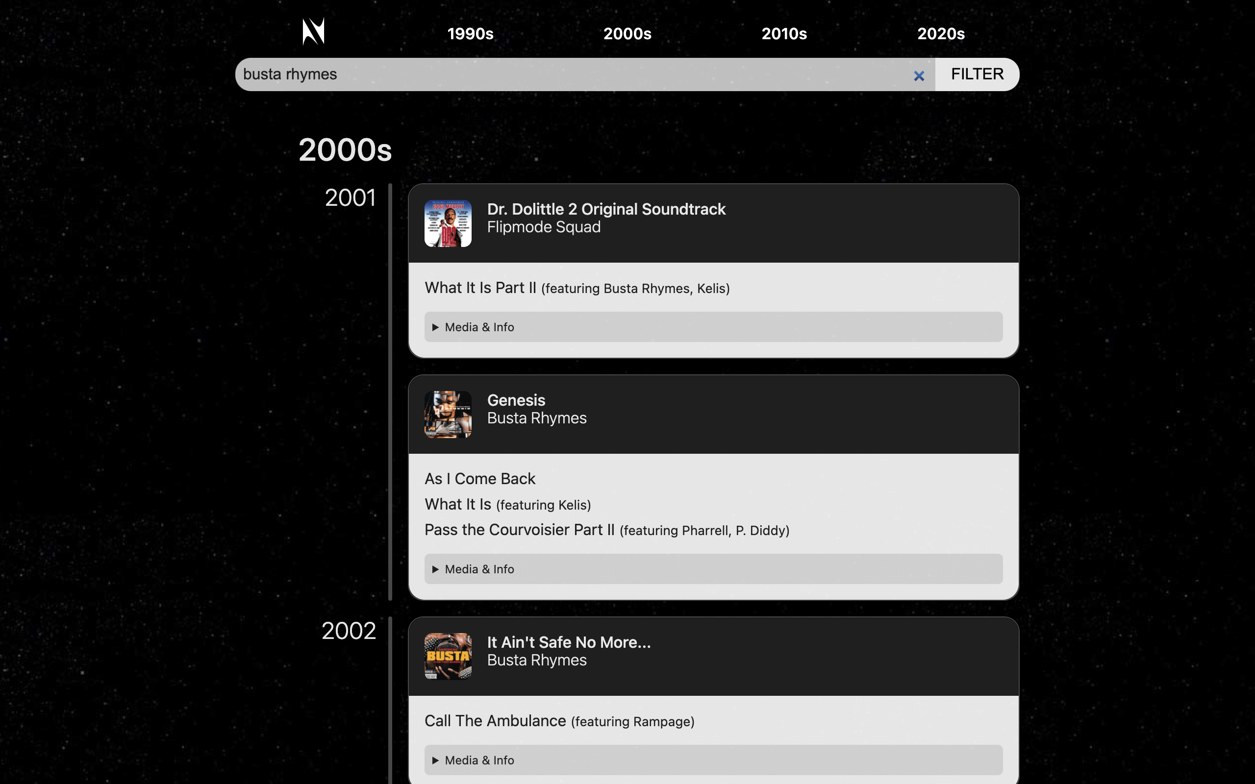 Screenshot of theneptunes.1thingaweek.com filtered to show Busta Rhymes songs