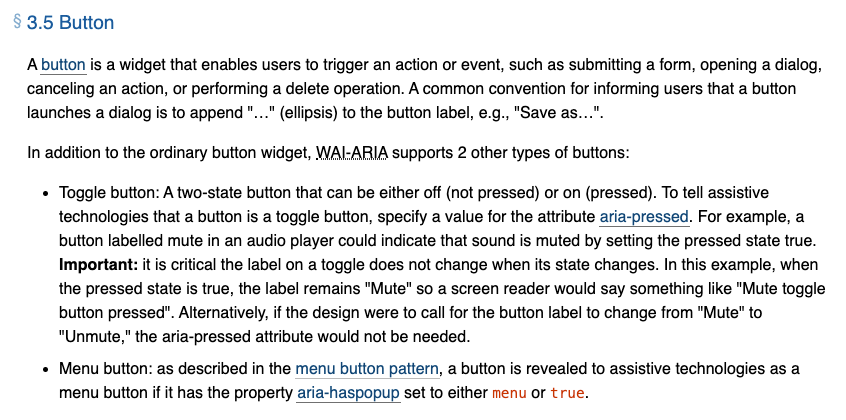 Screenshot of the first section of the Button widget.