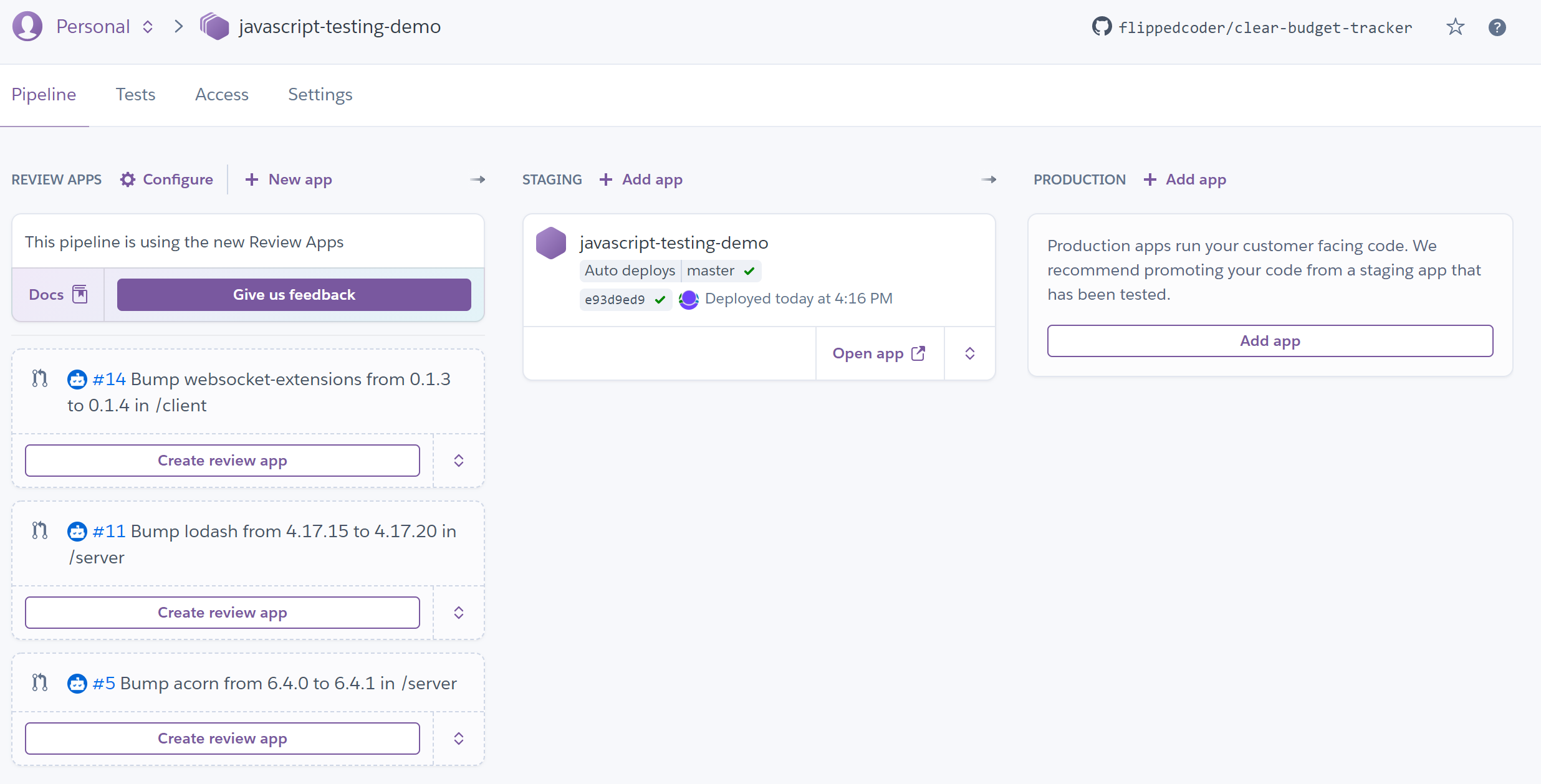 Heroku Flow view
