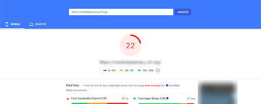 Low PageSpeed Insights score