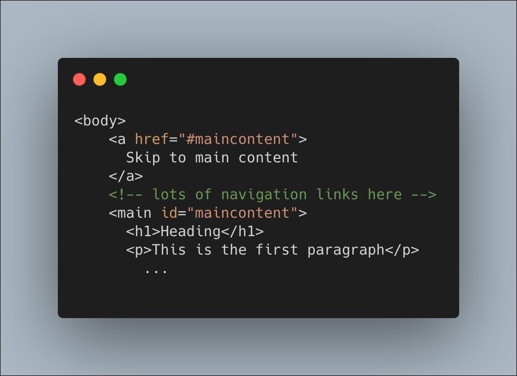 Html code depicting a skip link anchor tag