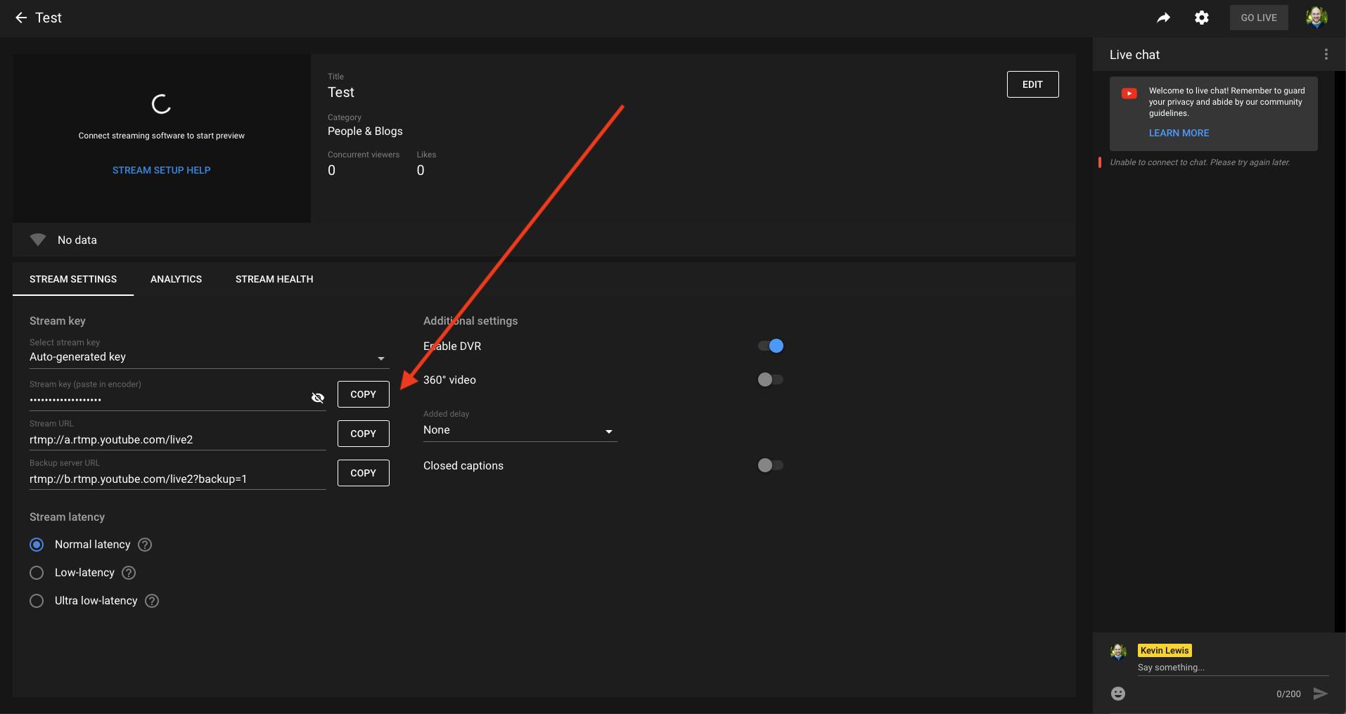 Stream key location