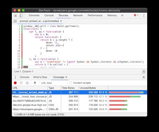 Example of Chrome's DevTools CSS Coverage