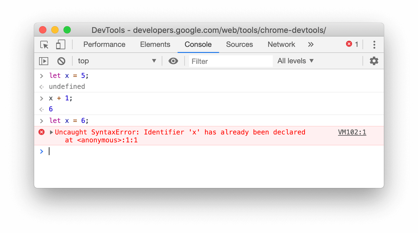 Screenshot for the re-declaration with let keyword, failing in the Console of Chrome 79
