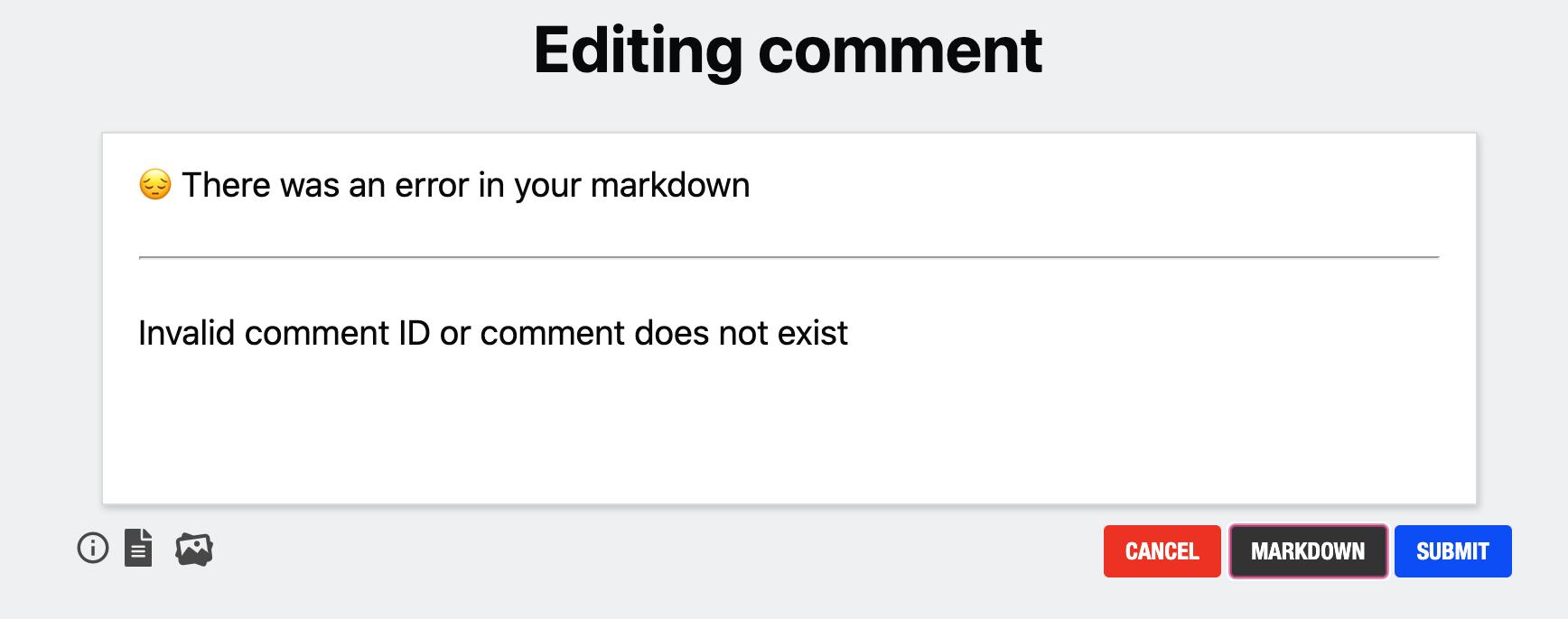 Bene Comment Error