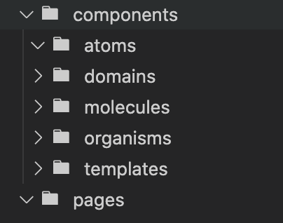 Example folder structure with a domains folder