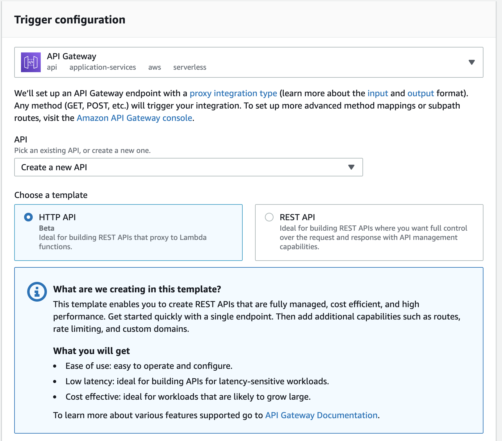 API Gateway creation screen