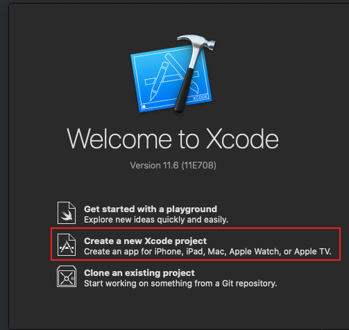 XCode first step creating a project