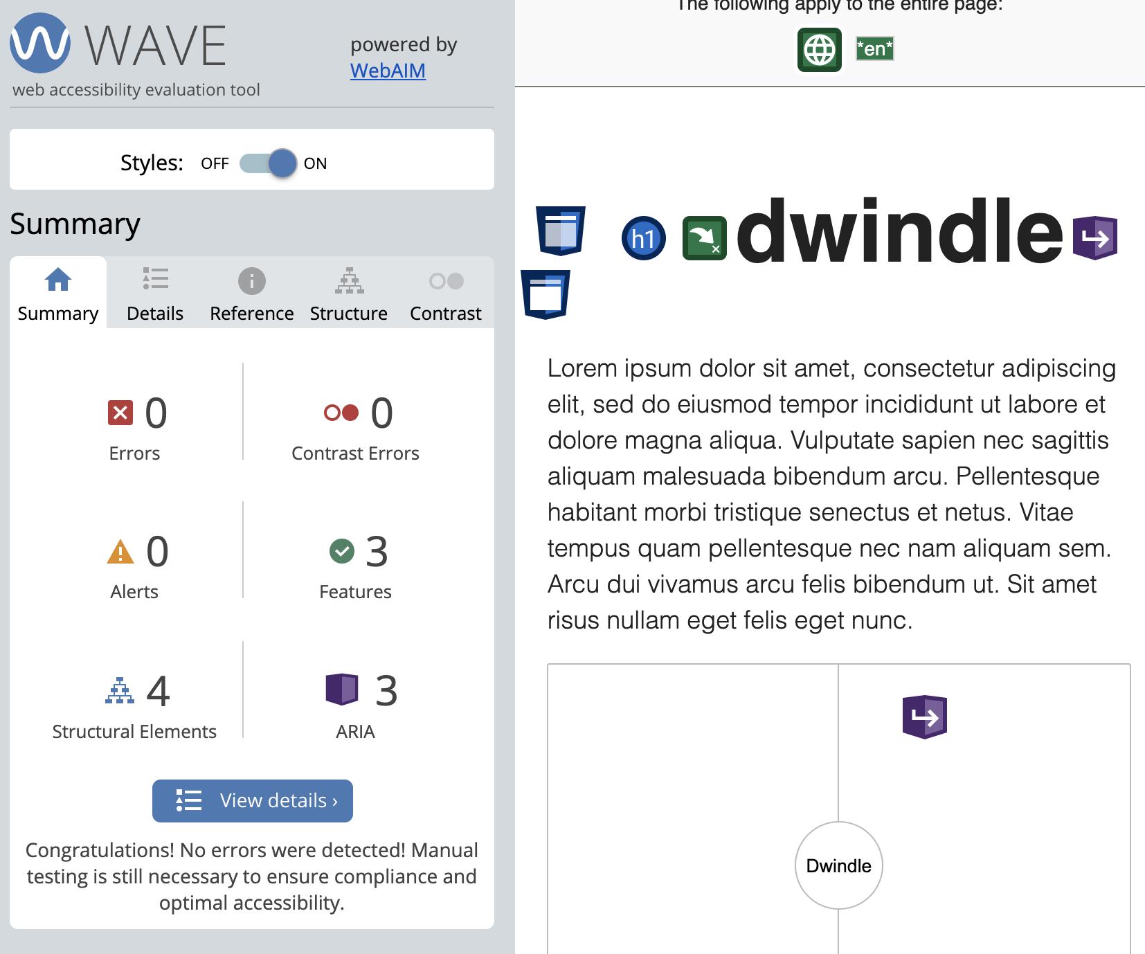 Screenshot of Wave results: no errors or warnings