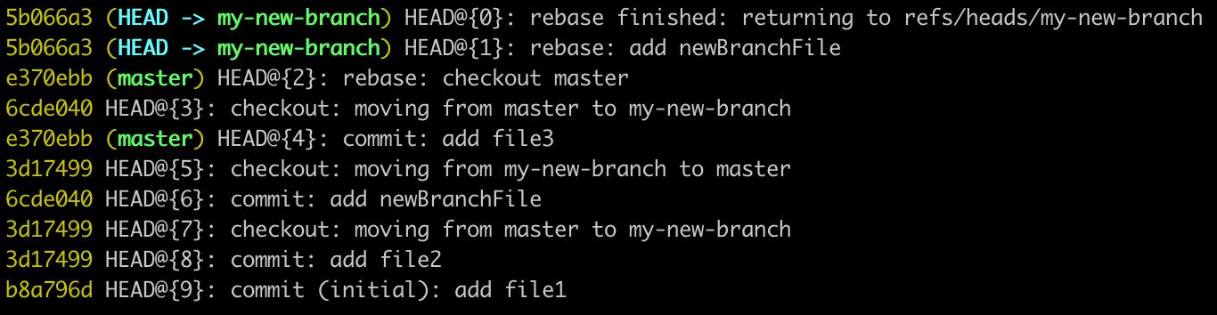 screenshot of git reflog output