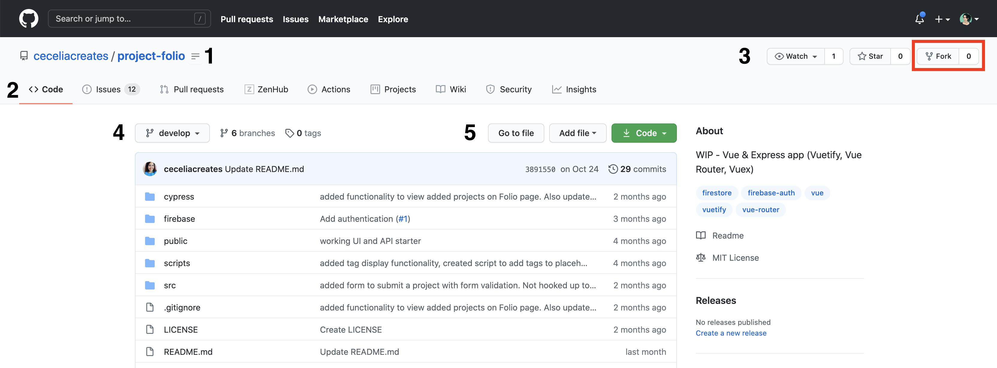 Screenshot of GitHub repo page