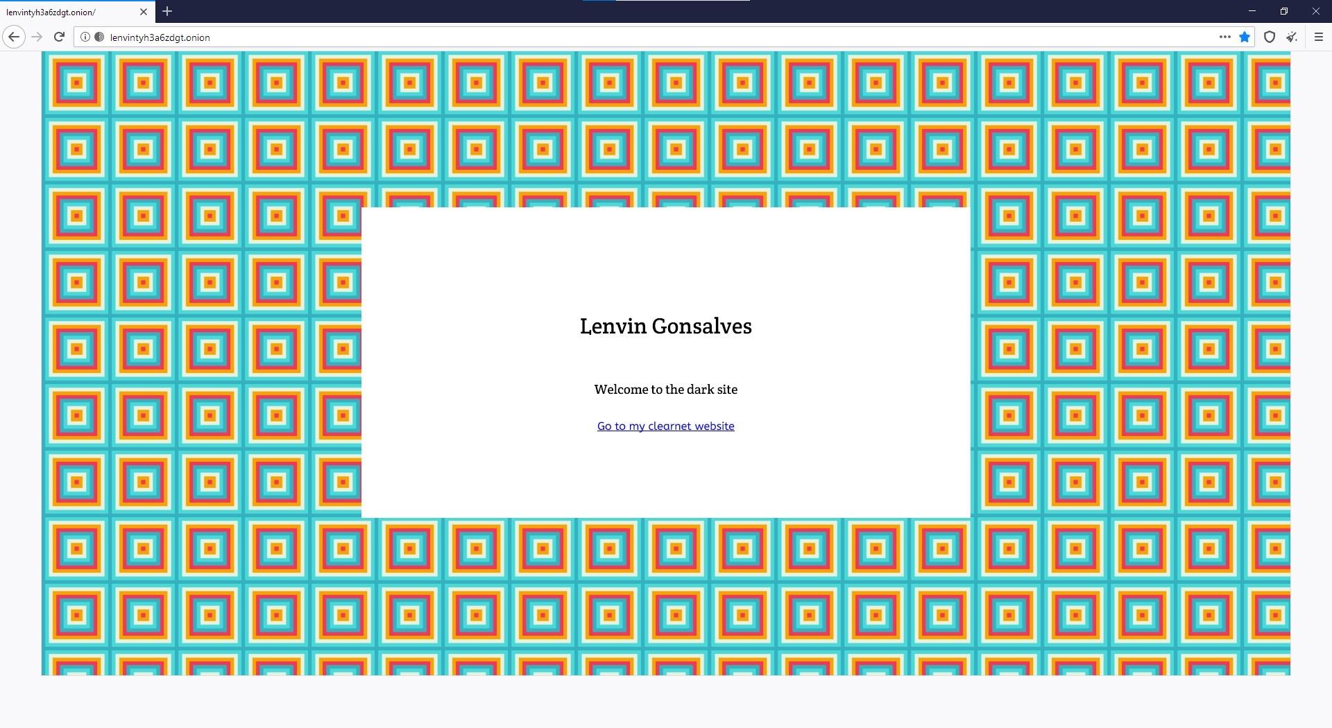 Screenshot of my dark website