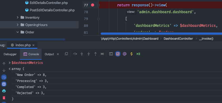 Breakpoint for debugging the variable