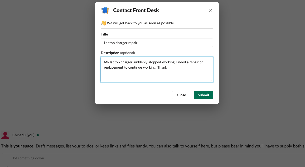 Modal popped up when `/frontdesk` is invoked