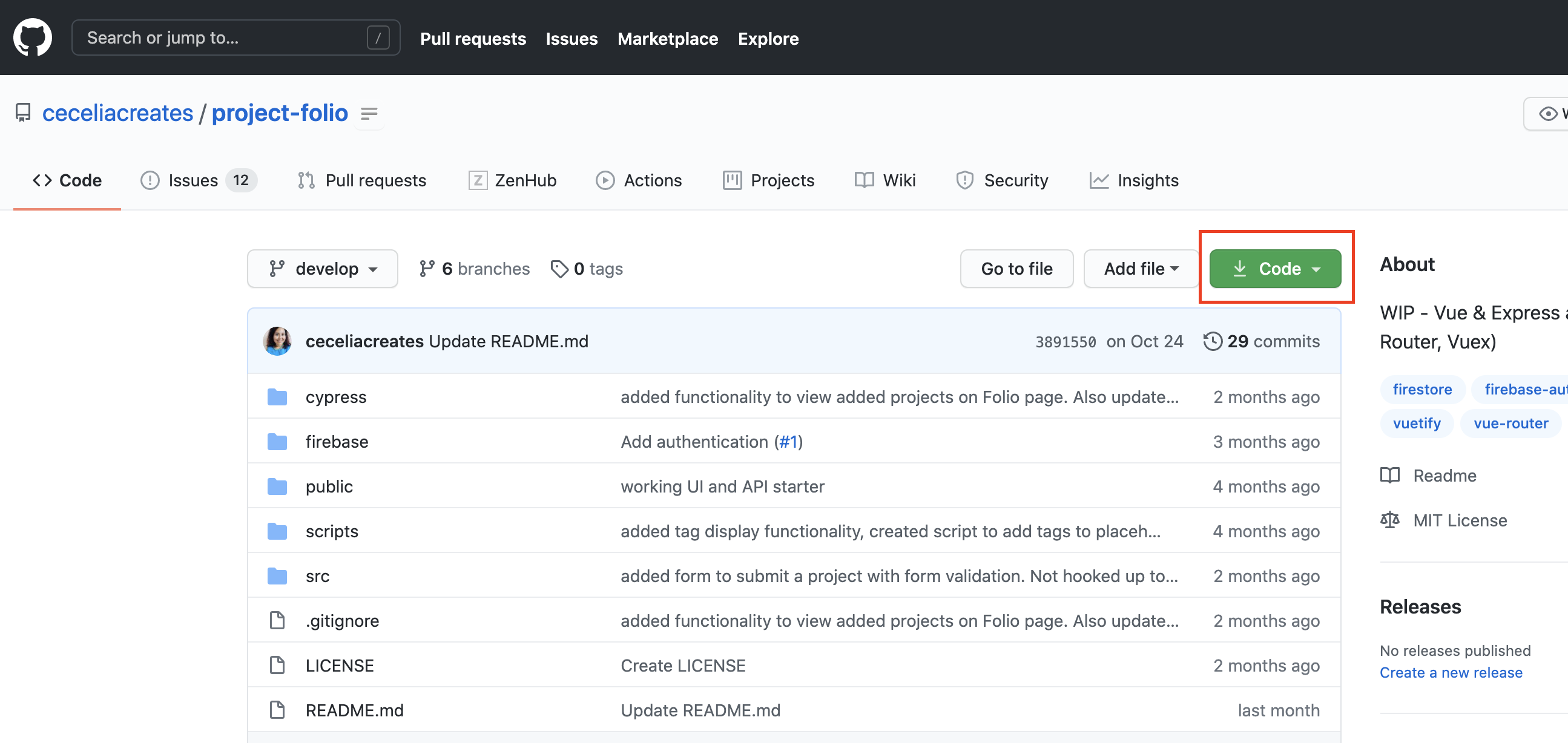 GitHub repo page screenshot with Code button highlighted