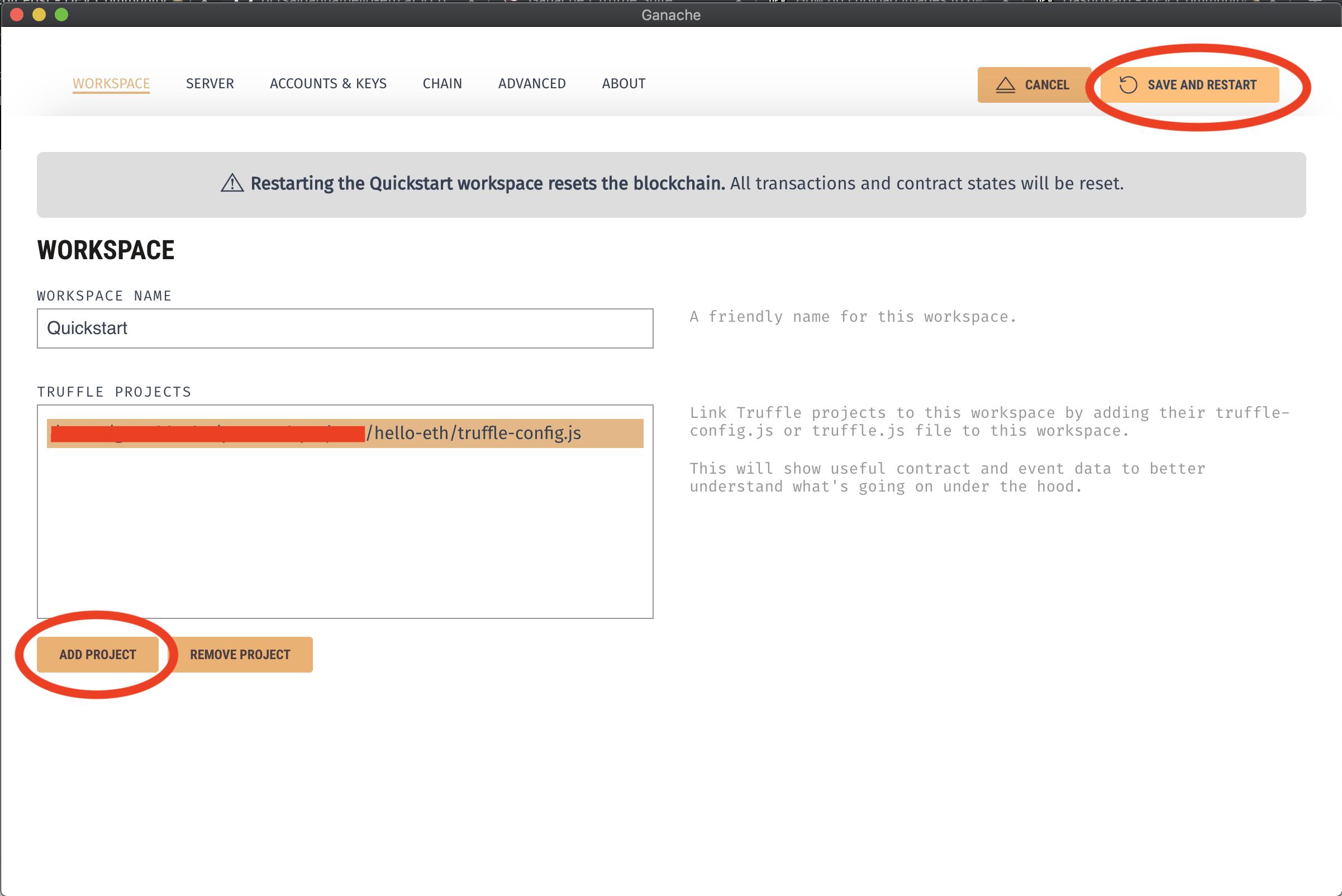 Add Project screen of Ganache