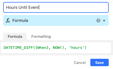 Hours Until Event column in Airtable setup