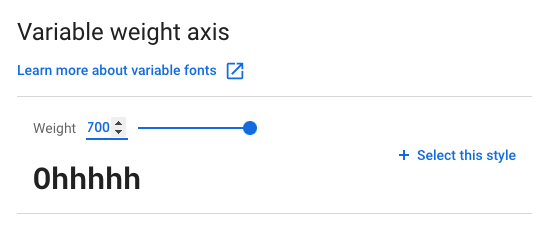 Snap of Google Fonts variable weight range configuration