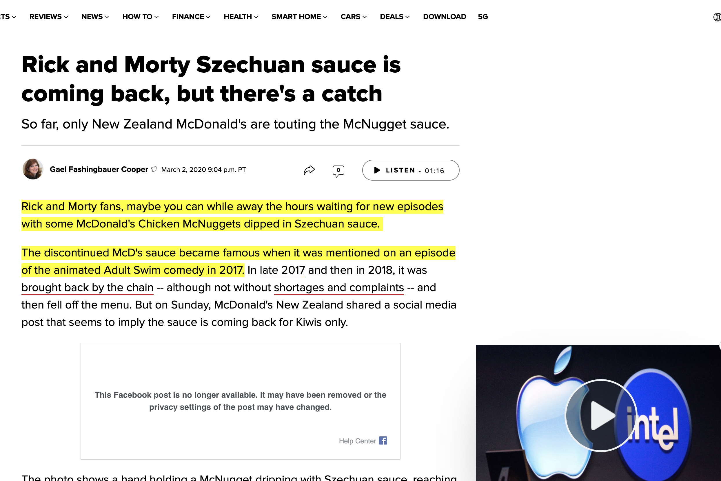 Rick and Morty Suace details at McDonalds highlighted on a CNN page