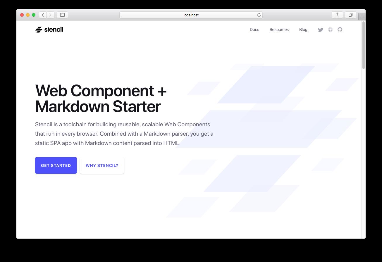 Screenshot of Web Component Markdown Starter template