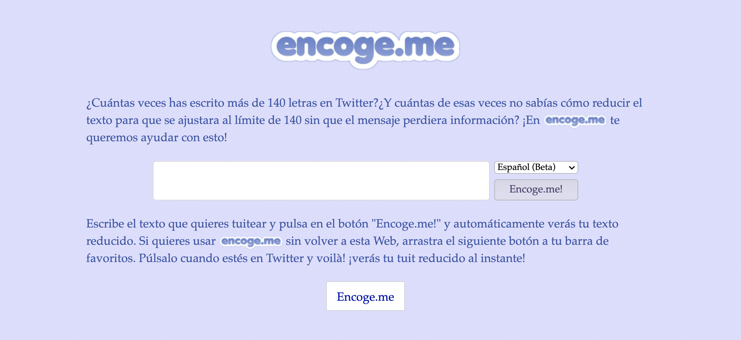 Screenshot of reduce.me, a site in Spanish to reduce the size of text