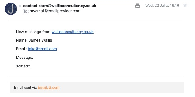 EmailJS output