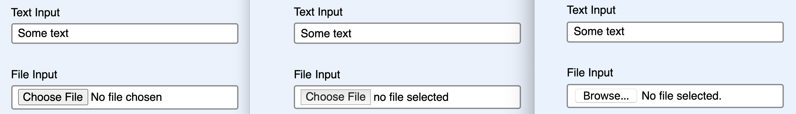 text input field across browsers compared to file input