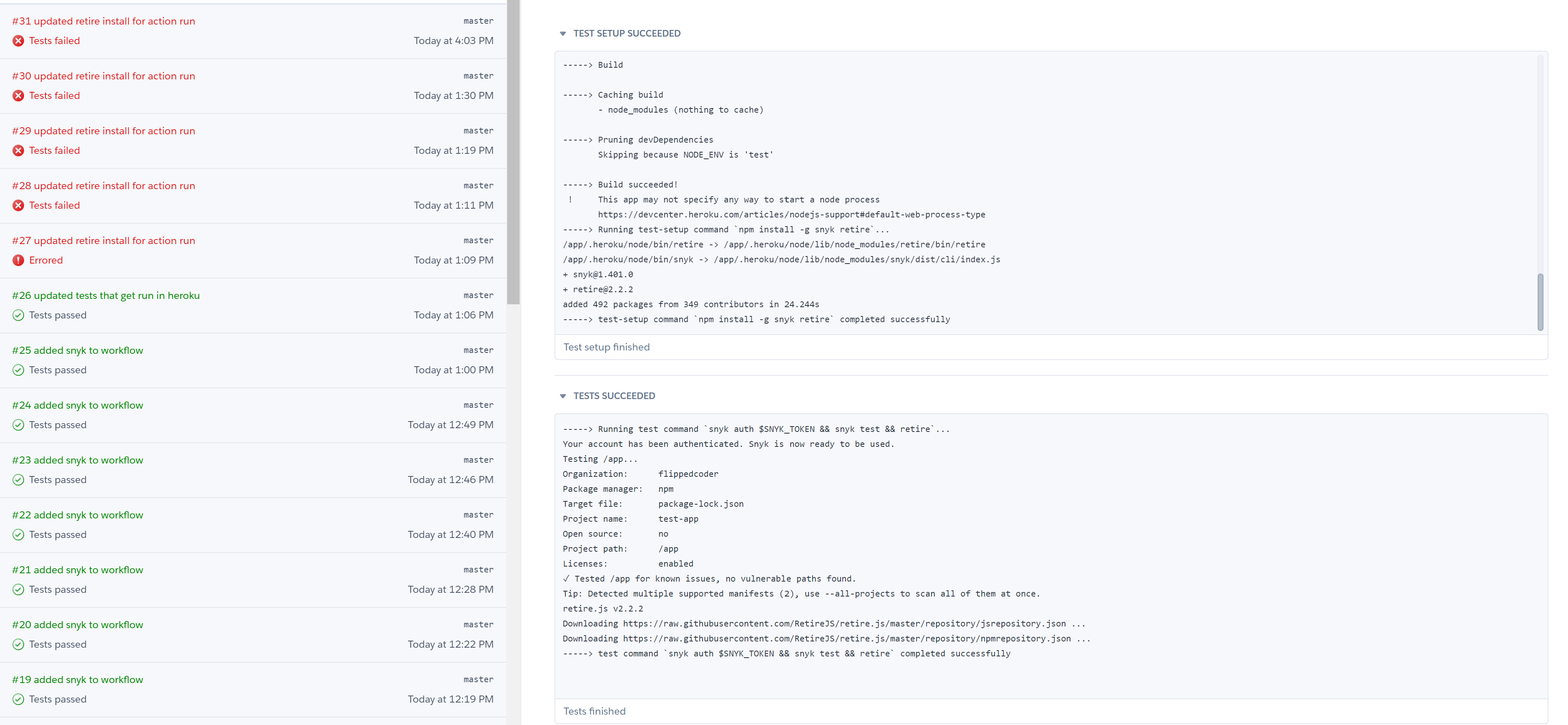 Tests running in Heroku CI