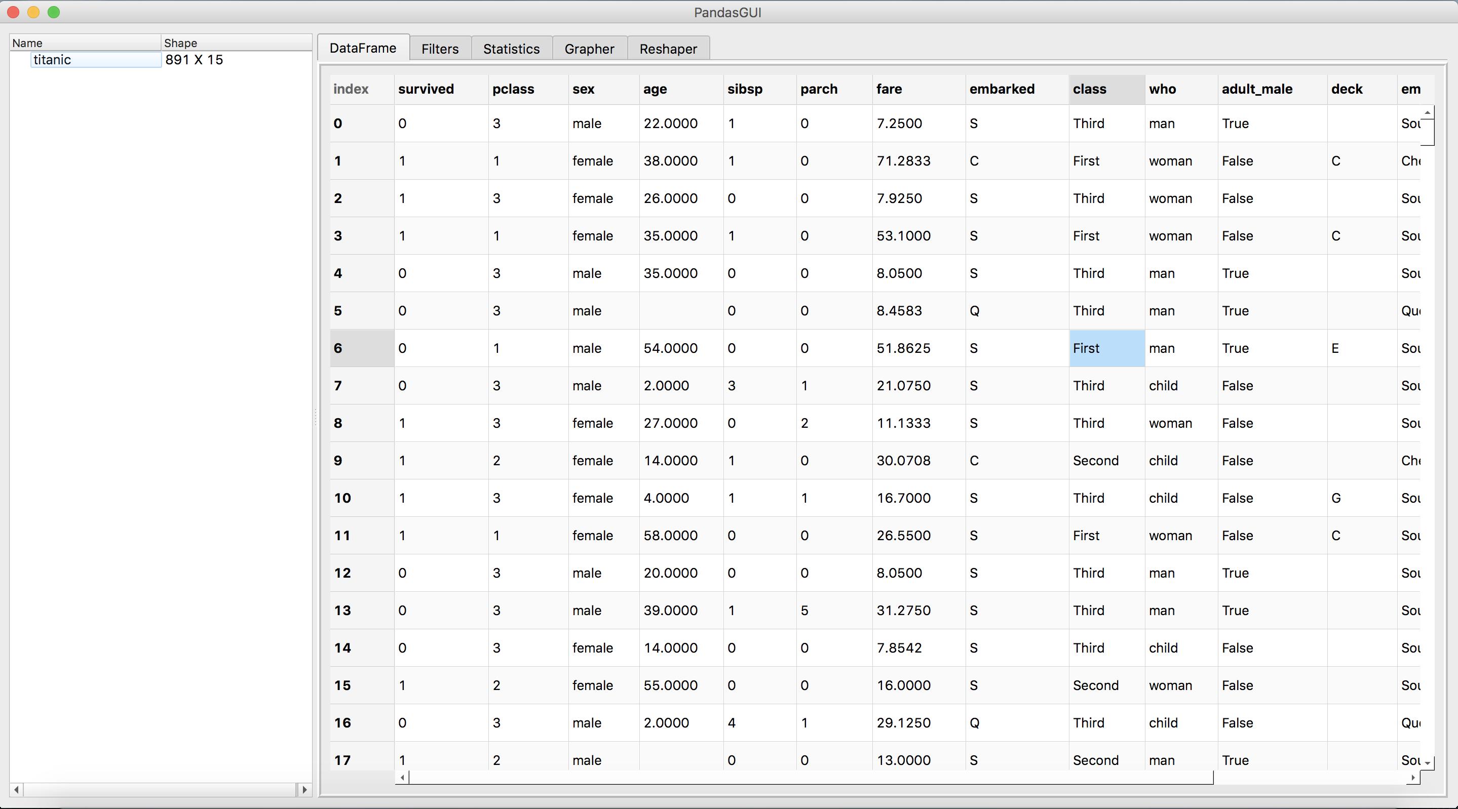 PandasGUI library interface