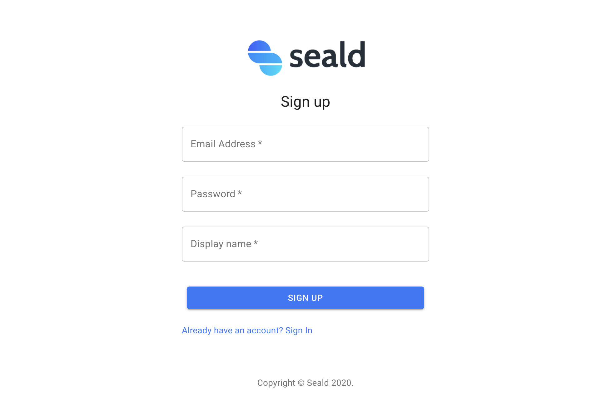 Sign up Seald demo