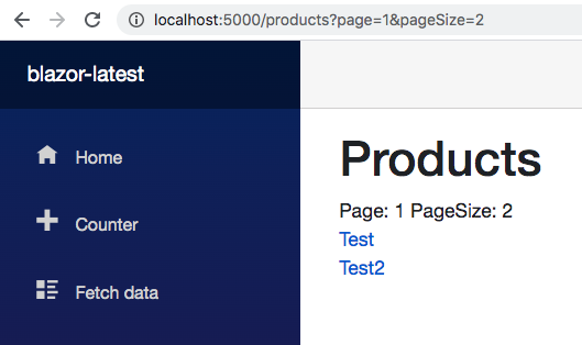 Filtered product list