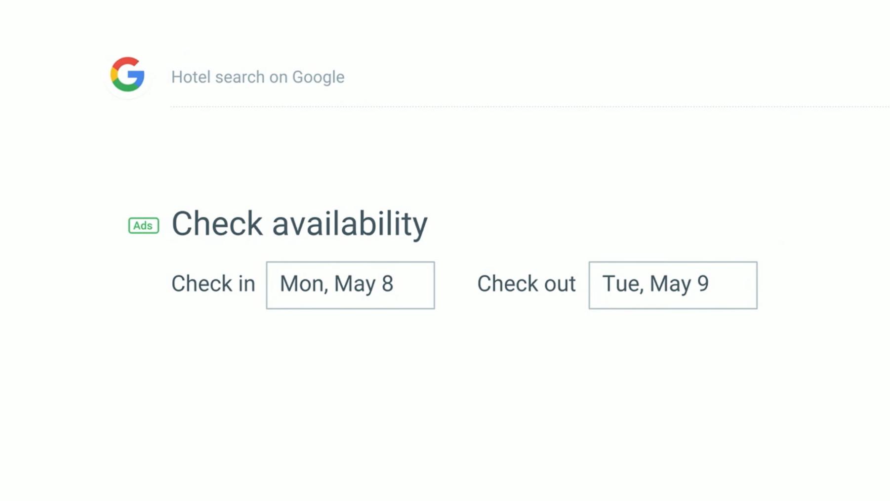 Google Hotel Search screenshot