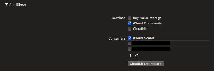 iCloud capability configuration