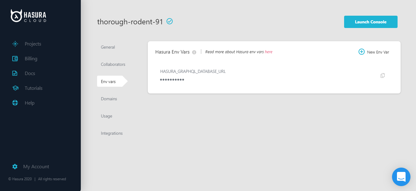 thorough-rodent-91 - Projects - Hasura Cloud and 8