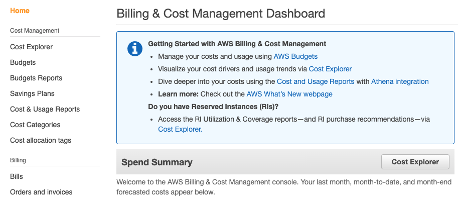 Billing & Cost Management Page