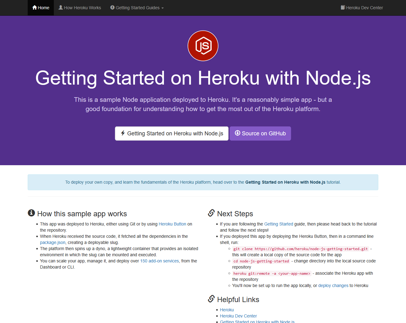 Heroku's node-js-getting-started project