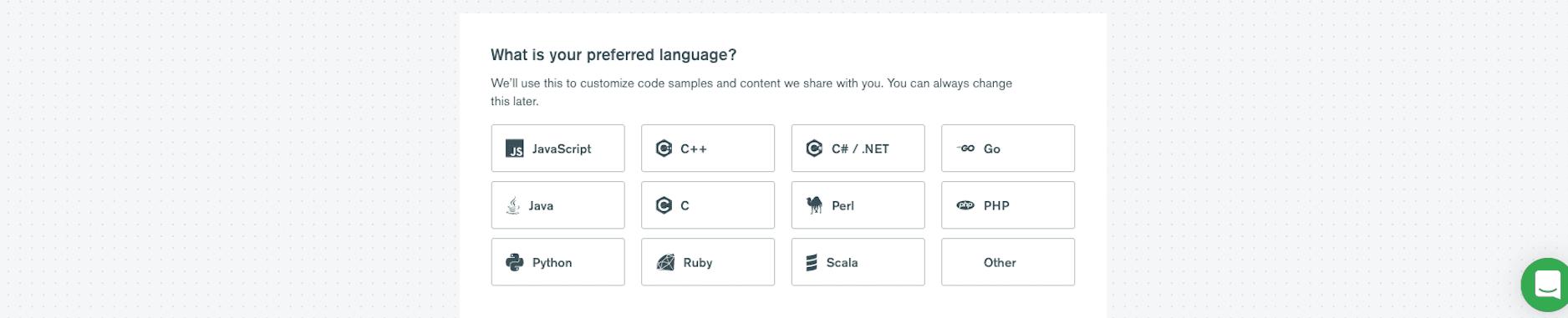 Select preferred language at MongoDB Atlas
