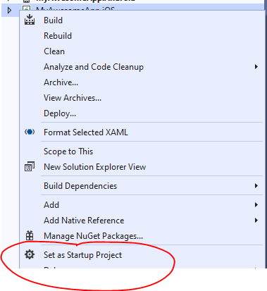 Setting iOS as the startup project in the project properties
