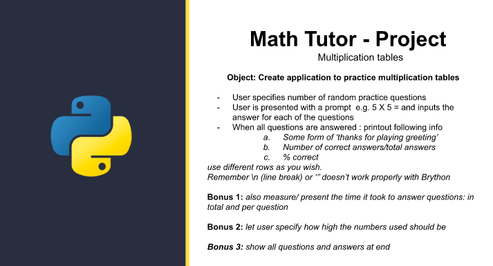 Math Tutor project instructions