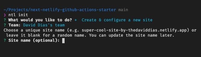 Screenshot of the CLI asking for the name of your application